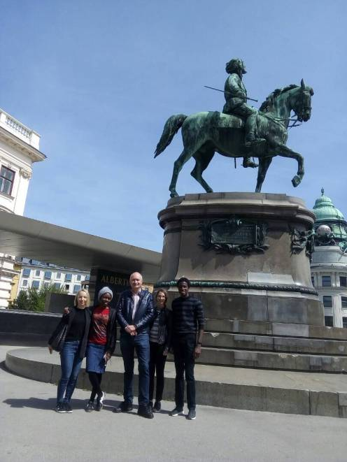End of the tour outside the Albertina museum.